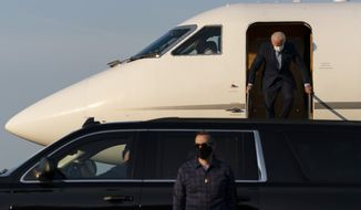 Democratic presidential candidate former Vice President Joe Biden arrives on his plane at New Castle Airport in New Castle, Del., Monday, Sept. 7, 2020, as he return from Harrisburg, Pa. (AP Photo/Carolyn Kaster)