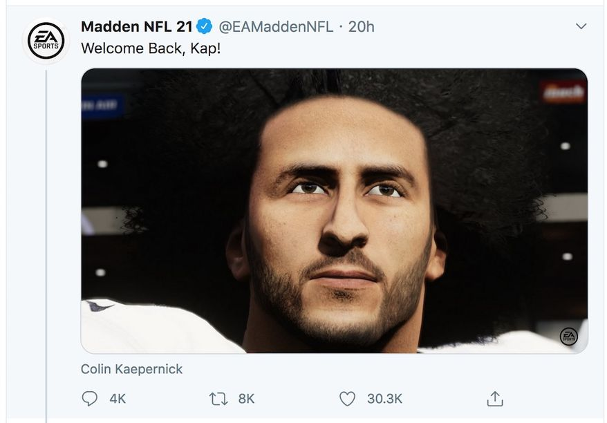 "Former NFL player Colin Kaepernick is featured in ""Madden 21"" by EA Sports. (Image: Twitter, Madden NFL 21)"