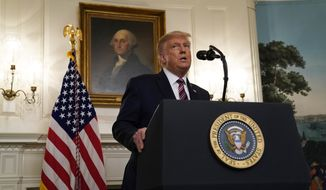 President Donald Trump speaks during an event on judicial appointments, in the Diplomatic Reception Room of the White House, Wednesday, Sept. 9, 2020, in Washington. (AP Photo/Evan Vucci)