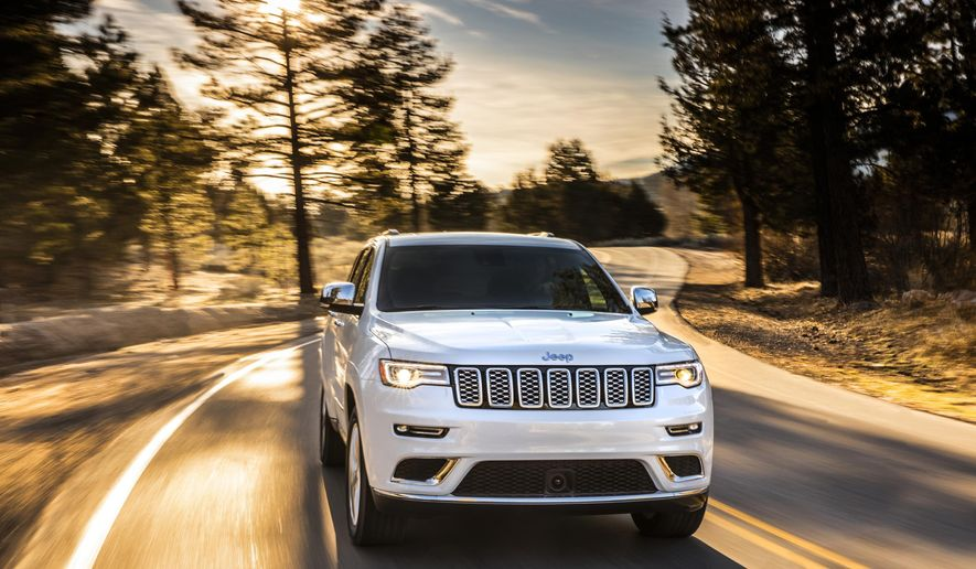 This photo provided by Fiat Chrysler shows the 2020 Jeep Grand Cherokee, which can tow up to 6,000 pounds with its standard V6 engine or 7,200 pounds with the more powerful V8. (Courtesy of FCA US via AP)