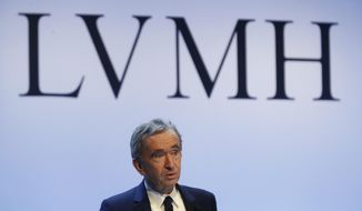 FILE - In this Jan. 28, 2020 file photo, CEO of LVMH Bernard Arnault presents the group's 2019 results during a press conference, in Paris. The luxury goods giant is ending its takeover deal of luxury jewelry retailer Tiffany & Co., citing in part the threat of proposed U.S. tariffs on French goods.  (AP Photo/Thibault Camus, File)