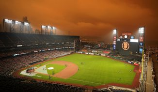 Smoke from California wildfires obscures the sky over Oracle Park as the Seattle Mariners take batting practice before their baseball game against the San Francisco Giants on Wednesday, Sept. 9, 2020, in San Francisco. (AP Photo/Tony Avelar)