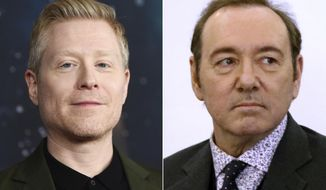 """Actor Anthony Rapp attends the """"Star Trek: Discovery"""" season two premiere in New York on Jan. 17, 2019, left, and actor Kevin Spacey is seen during his arraignment on a charge of indecent assault and battery in Nantucket, Mass., on Jan. 7, 2019.  On Wednesday, Sept. 9, 2020, Rapp was one of two men who filed a lawsuit against Spacey, accusing the actor of sexual assaults in the 1980s when he and the other plaintiff, who is  known as """"C.D."""" were teens. (AP Photo, File)"""