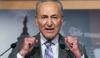 Senate Minority Leader Sen. Chuck Schumer of N.Y. speaks during a news conference, Wednesday, Sept. 9, 2020, on Capitol Hill in Washington. (AP Photo/Jacquelyn Martin)