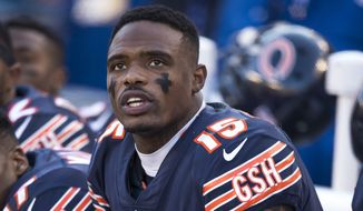 Chicago Bears wide receiver Joshua Bellamy (15) sits on the bench with his helmet off during the regular season game against the Green Bay Packers, Sunday, Dec. 16, 2018, in Chicago. The Bears defeated the Packers 24-17. (AP Photo/Michael McGinnis) **FILE**