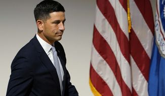 Department of Homeland Security acting Secretary Chad Wolf walks on the stage to speak at an event at DHS headquarters in Washington, Wednesday, Sept. 9, 2020. (AP Photo/Susan Walsh)