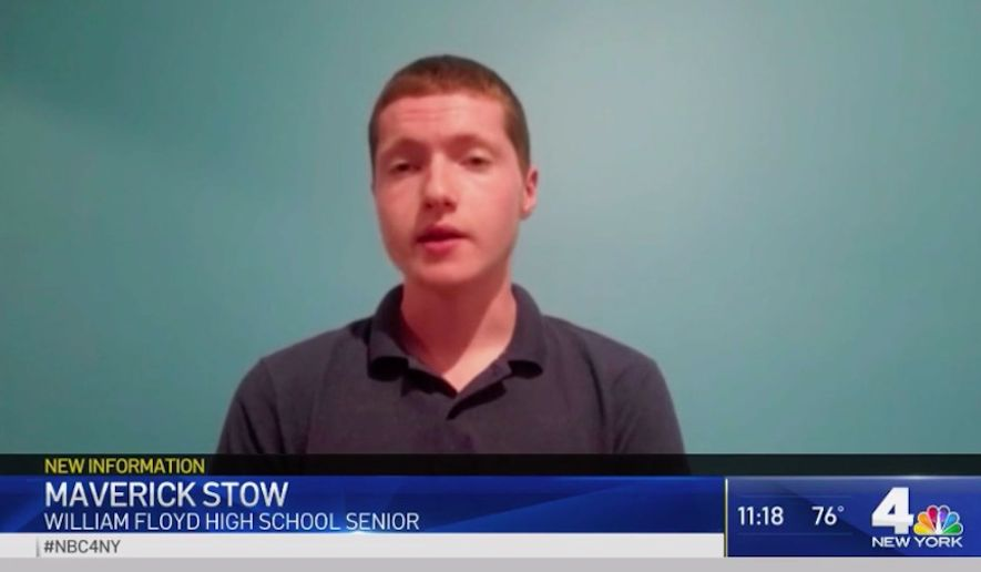 Maverick Stow, a 17-year-old student at William Floyd High School in Long Island, was reportedly arrested Thursday after trying to attend in-person classes as an act of protest. (Screen grab via NBC New York)