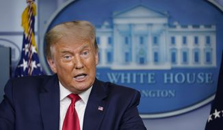 President Donald Trump speaks during a news conference at the White House in Washington, Thursday, Sept. 10, 2020. (AP Photo/Susan Walsh)