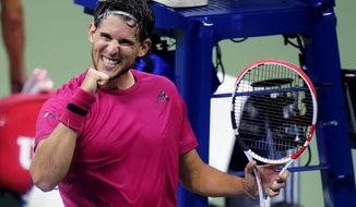 Dominic Thiem, of Austria, pumps his fist after defeating Alex de Minaur, of Australia, during the quarterfinal round of the US Open tennis championships, Wednesday, Sept. 9, 2020, in New York. (AP Photo/Frank Franklin II)