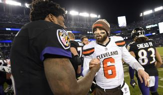 FILE - Cleveland Browns quarterback Baker Mayfield, right, speaks with Baltimore Ravens quarterback Lamar Jackson after an NFL football game, Sunday, Dec. 30, 2018, in Baltimore. Baltimore won 26-24. The Ravens play at the Cleveland Browns on Sunday, Sept. 13, 2020. (AP Photo/Nick Wass, File)