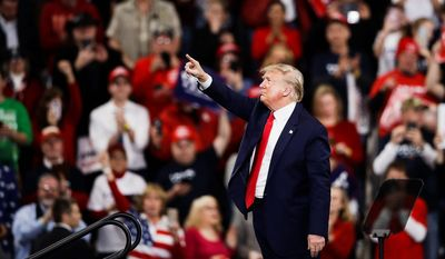 President Donald Trump during a campaign rally in Hershey, Pa., Tuesday, Dec. 10, 2019 (AP Photo/Matt Rourke) **FILE**