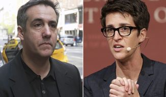 "In this combination photo, Michael Cohen, left, walks down Madison Avenue on May 4, 2019, in New York and MSNBC television anchor and host of ""The Rachel Maddow Show,"" Rachel Maddow moderates a panel called ""Perspectives on National Security,"" on Oct. 16, 2017 in Cambridge, Mass. Maddow's interview with former Trump attorney Michael Cohen this week reached the second-biggest audience of her program's history. It was second only to the night this summer when Maddow welcomed presidential niece Mary Trump for her tell-all book. (AP Photo)"