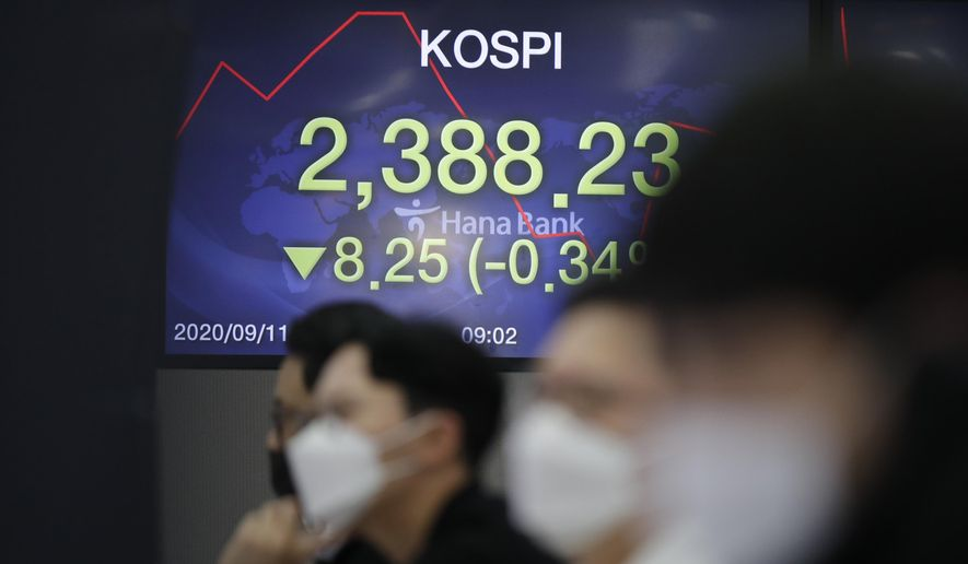 Currency traders watch computer monitors near the screen showing the Korea Composite Stock Price Index (KOSPI) at the foreign exchange dealing room in Seoul, South Korea, Friday, Sept. 11, 2020. Asian shares were mixed Friday following a selloff of technology shares on Wall Street.  (AP Photo/Lee Jin-man)