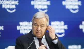 In this Aug. 25, 2020 file photo, United Nations Secretary-General Antonio Guterres attends a session during the World Economic Forum in Davos, Switzerland.    (AP Photo/Markus Schreiber, File)  **FILE**