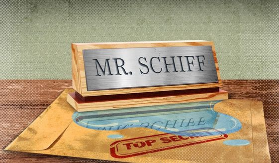 Briefings Leaked like Schiff Illustration by Greg Groesch/The Washington Times