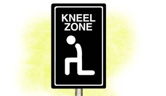 Illustration on the kneeling phenomenon by Alexander Hunter/The Washington Times