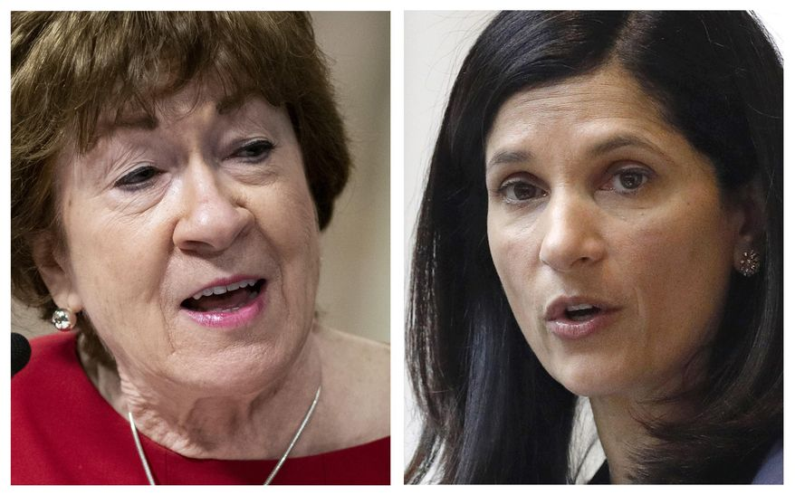 FILE - This pair of 2020 file photos shows incumbent Republican U.S. Sen. Susan Collins, left, and Maine Democrat House Speaker, right, candidates for U.S. Senate in the Nov. 3 election. (AP Photos, File)