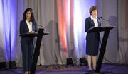 Maine House Speaker Sara Gideon, left, and incumbent Sen. Susan Collins participate in a debate at the Holiday Inn By The Bay, Friday, Sept. 11, 2020 in Portland, Maine.  (Brianna Soukup/Portland Press Herald via AP)