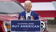 In this Wednesday, Sept. 9, 2020, file photo, then-Democratic presidential candidate former Vice President Joe Biden speaks during a campaign event on manufacturing and buying American-made products at UAW Region 1 headquarters in Warren, Mich. (AP Photo/Patrick Semansky) ** FILE **