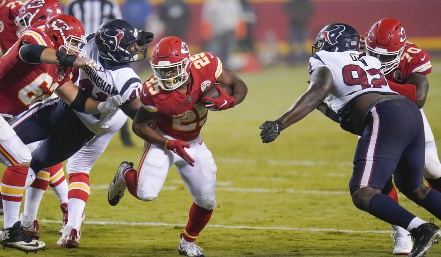 Kansas City Chiefs running back Clyde Edwards-Helaire (25) carries the ball against the Houston Texans in the second half of an NFL football game Thursday, Sept. 10, 2020, in Kansas City, Mo. (AP Photo/Jeff Roberson)