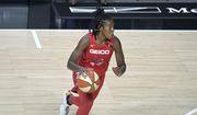 Washington Mystics guard Ariel Atkins (7) drives to the basket during the first half of a WNBA basketball game against the Los Angeles Sparks, Thursday, Sept. 10, 2020, in Bradenton, Fla. (AP Photo/Phelan M. Ebenhack) ** FILE **