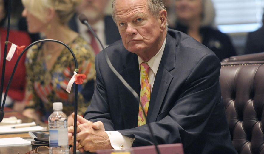 In this May 7, 2013 photo, Sen. David McBride, D-Hawks Nest, listens to debate on Delaware's same-sex marriage bill on the floor of the State Senate in Dover, Del.  Tuesday, Sept. 15, 2020 primary elections feature seven races in which Democratic incumbents face challengers. Among the lawmakers facing intraparty opposition is McBride, who was first elected to the Senate in 1980 after spending two years in the House. He has not had a primary challenger since 1986.(Gary Emeigh/The News Journal via AP)