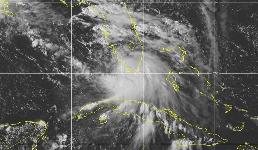 This Saturday, Sept. 12, 2020 image provided by NOAA shows the formation of Tropical Storm Sally. Tropical Storm Sally has formed off south Florida, becoming the earliest 18th-named tropical storm on record in a busy Atlantic hurricane season. (NOAA via AP)