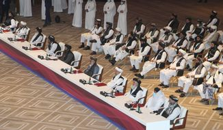 Taliban negotiator Abbas Stanikzai, fifth right, with his delegation attend the opening session of the peace talks between the Afghan government and the Taliban in Doha, Qatar, Saturday, Sept. 12, 2020. (AP Photo/Hussein Sayed)  **FILE**