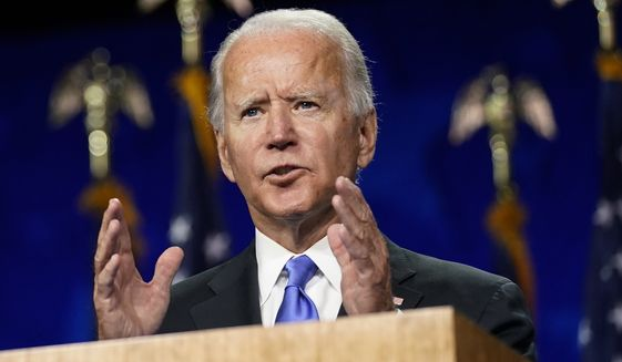 In this Aug. 20, 2020, file photo, Democratic presidential candidate former Vice President Joe Biden speaks during the fourth day of the Democratic National Convention at the Chase Center in Wilmington, Del. (AP Photo/Andrew Harnik, File)  **FILE**