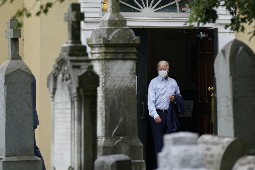 Democratic presidential candidate and former Vice President Joe Biden departs after attending mass at St. Joseph on the Brandywine Roman Catholic Church in Wilmington, Del., Sunday, Sept. 13, 2020. (AP Photo/Patrick Semansky)