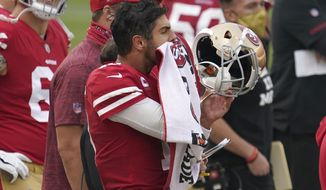 San Francisco 49ers quarterback Jimmy Garoppolo reacts on the sideline during the second half of an NFL football game against the Arizona Cardinals in Santa Clara, Calif., Sunday, Sept. 13, 2020. (AP Photo/Tony Avelar)
