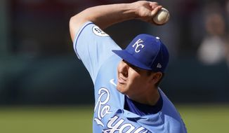 Kansas City Royals starting pitcher Brad Keller throws during the ninth inning of a baseball game against the Pittsburgh Pirates Sunday, Sept. 13, 2020, in Kansas City, Mo. Keller pitched a complete game and shut out the Pirates. (AP Photo/Charlie Riedel)