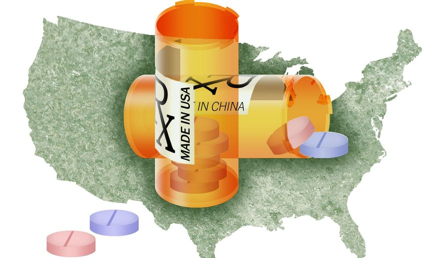 Illustration on domestic drug manufacturing by Alexander Hunter/The Washington Times