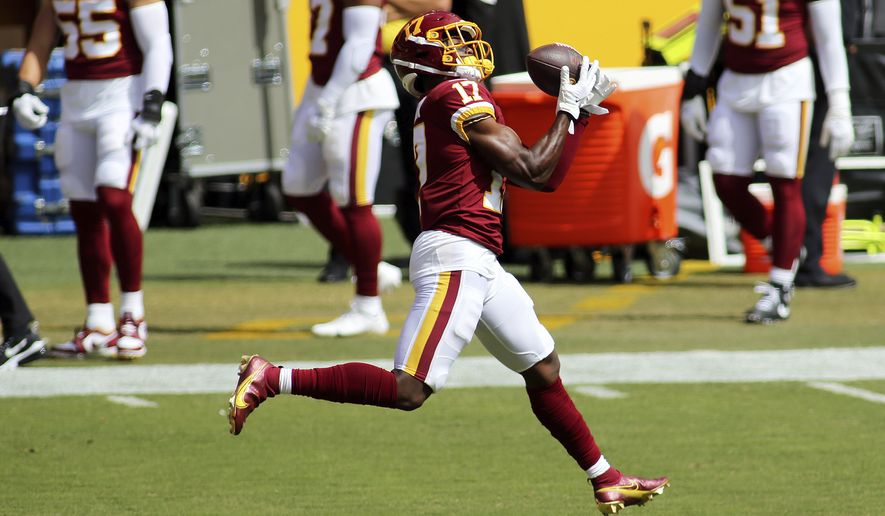 Washington Football Team wide receiver Terry McLaurin (17) in action before an NFL match against the Philadelphia Eagles and the Washington Football Team on Sunday, September 13, 2020 in Landover, Md. (AP Photo/Daniel Kucin Jr.)  **FILE**