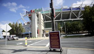 A view of FedExField before an NFL match against the Philadelphia Eagles and the Washington Football Team on Sunday, September 13, 2020 in Landover, Md. (AP Photo/Daniel Kucin Jr.)  **FILE**