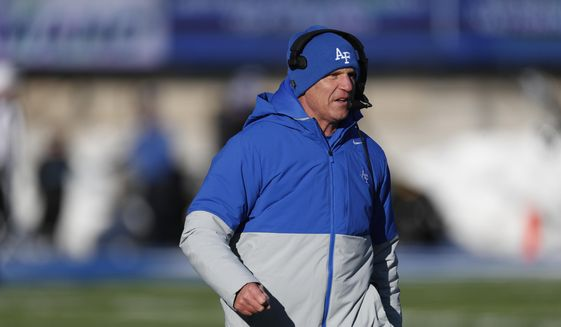 In this Nov. 30, 2019, file photo, Air Force head coach Troy Calhoun looks on in the second half of an NCAA college football game against Wyoming at Air Force Academy, Colo. The Air Force Falcons are planning to play two games this season against fellow service academies Army and Navy. The Falcons will host Navy on Oct. 3, 2020, and travel to West Point, N.Y., to face Army on Nov. 7, 2020. (AP Photo/David Zalubowski, File)  **FILE**