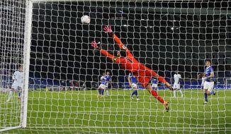 Brighton's goalkeeper Mathew Ryan fails to stop Chelsea's Reece James score his team's second goal during the English Premier League soccer match between Brighton and Chelsea at Falmer Stadium in Brighton, England, Monday, Sept. 14, 2020. (Peter Cziborra/Pool via AP)