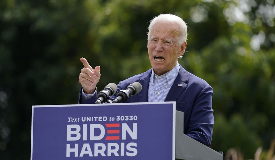 Democratic presidential candidate and former Vice President Joe Biden speaks about climate change and wildfires affecting western states, Monday, Sept. 14, 2020, in Wilmington, Del. (AP Photo/Patrick Semansky)