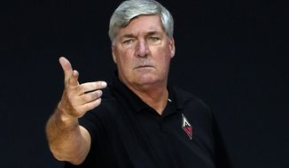 Las Vegas Aces head coach Bill Laimbeer during the second half of a WNBA basketball game against the Phoenix Mercury Tuesday, Sept. 1, 2020, in Bradenton, Fla. (AP Photo/Chris O'Meara)