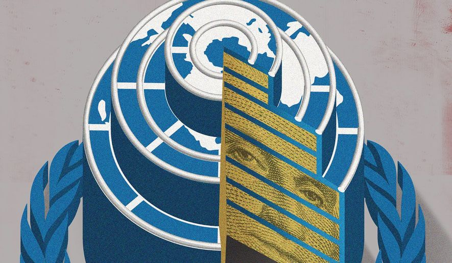 Illustration on the U.N. at 75 by Linas Garsys/The Washington Times
