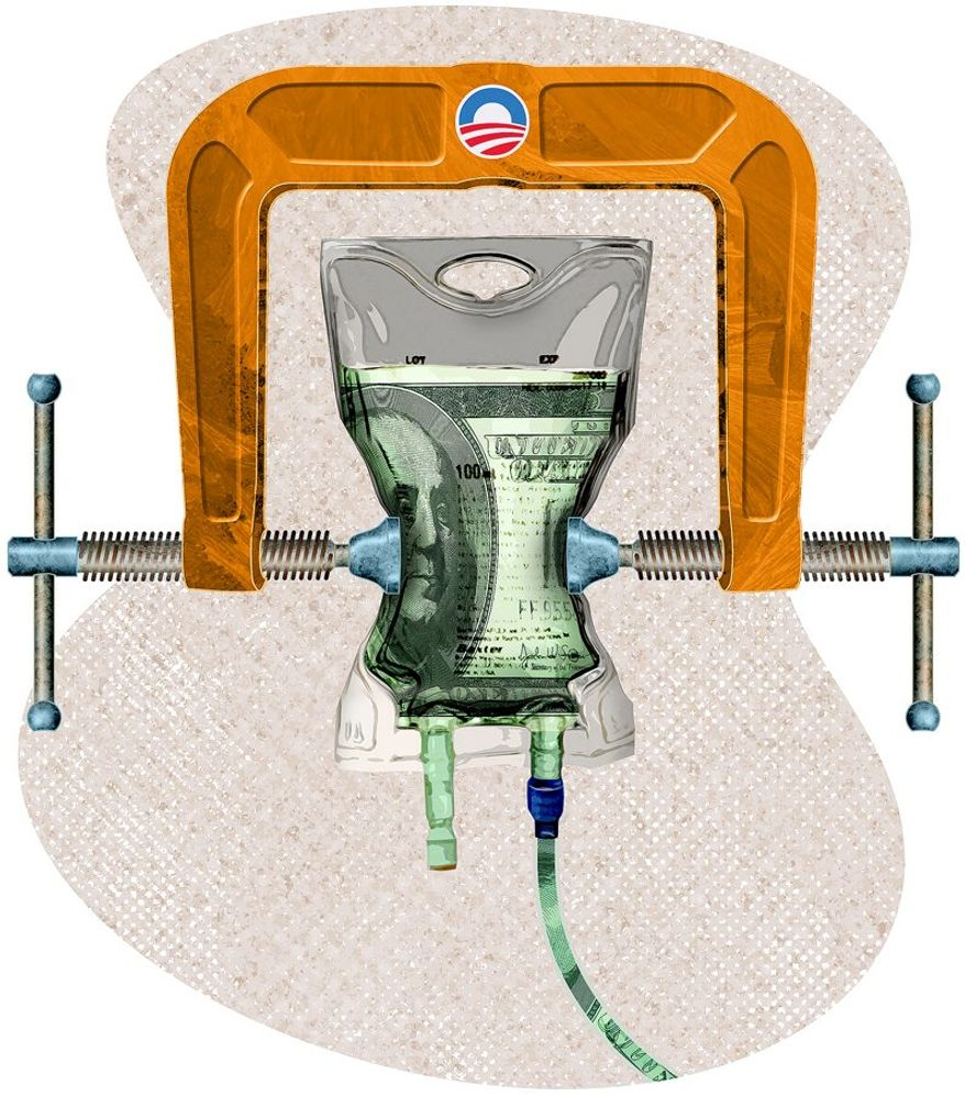 Obamacare Transfer Clamp Illustration by Greg Groesch/The Washington Times