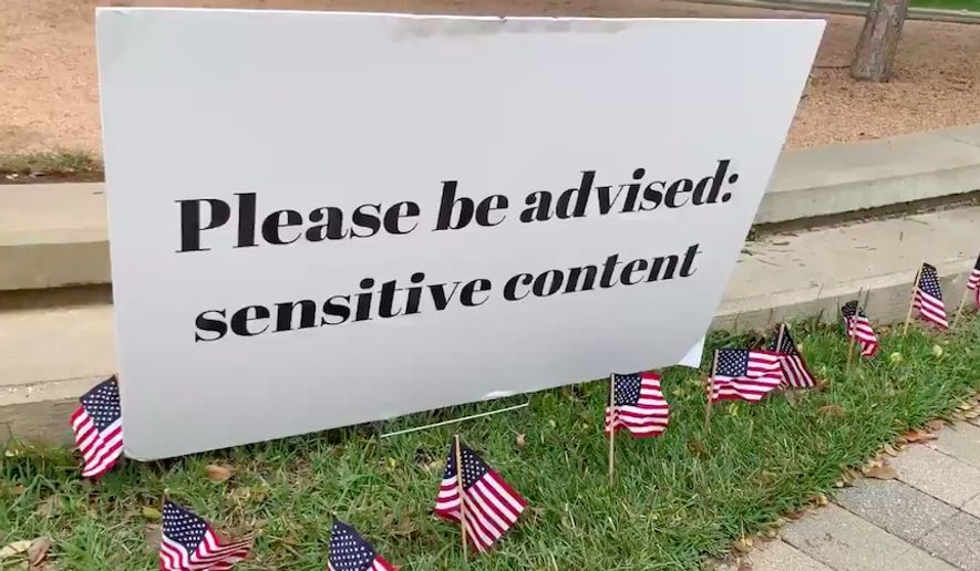 "Baylor University in Waco, Texas, apologized Monday after placing a ""sensitive content"" warning on a display set up by the school's Young Conservatives of Texas chapter commemorating the victims of the September 11, 2001 terrorist attacks. (Screen grab via Twitter/@BaylorYCT)"