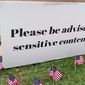 """Baylor University in Waco, Texas, apologized Monday after placing a """"sensitive content"""" warning on a display set up by the school's Young Conservatives of Texas chapter commemorating the victims of the September 11, 2001 terrorist attacks. (Screen grab via Twitter/@BaylorYCT)"""