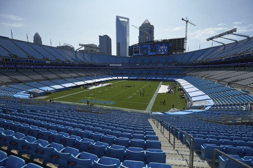 An interior view of Bank of America Stadium prior to an NFL football game between the Las Vegas Raiders and the Carolina Panthers, Sunday, Sept. 13, 2020, in Charlotte, N.C. (AP Photo/Brian Westerholt)
