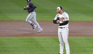 Baltimore Orioles starting pitcher Tom Eshelman, right, reacts to a home run hit by Atlanta Braves left fielder Adam Duvall, left, during the fourth inning of a baseball game, Tuesday, Sept. 15, 2020, in Baltimore. (AP Photo/Terrance Williams)