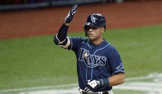 Tampa Bay Rays' Nate Lowe celebrates his solo home run off Washington Nationals starting pitcher Anibal Sanchez during the second inning of a baseball game Tuesday, Sept. 15, 2020, in St. Petersburg, Fla. (AP Photo/Chris O'Meara) **FILE**