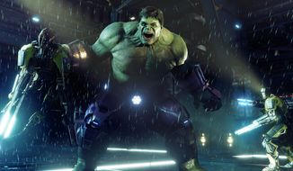 The Hulk smashes robotic A.I.M. minions in the video game Marvel's Avengers. (Courtesy Square Enix)