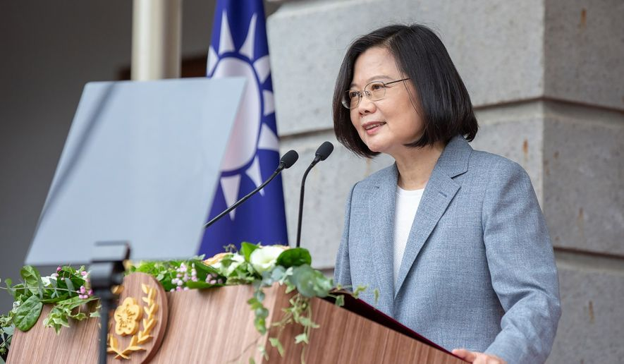 In this May 20, 2020, file photo released by the Taiwan Presidential Office, Taiwanese President Tsai Ing-wen delivers a speech after her inauguration ceremony at a government guest house in Taipei, Taiwan. (Taiwan Presidential Office via AP, File)