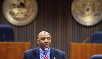 Special prosecutor Fred Franklin announces charges in the shooting death of James Scurlock during a press conference at the Omaha city council legislative chambers on Tuesday, Sept. 15, 2020, in Omaha, Neb. (Chris Machian/Omaha World-Herald via AP)