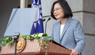 FILE - In this May 20, 2020, file photo released by the Taiwan Presidential Office, Taiwanese President Tsai Ing-wen delivers a speech after her inauguration ceremony at a government guest house in Taipei, Taiwan. U.S. Undersecretary of State Keith Krach is due to meet Tsai and other senior officials, the island's foreign ministry said Thursday, Sept. 17, 2020. Krach is the highest-level official from the State Department to visit the island in decades. Keith is due to arrive in Taiwan on Thursday afternoon to begin a three-day visit that has already drawn a warning from China. (Taiwan Presidential Office via AP, File)